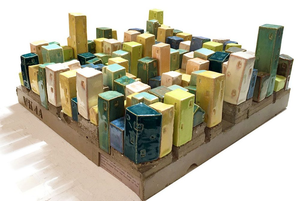 Terracotta model of V/K 4A, a zero energy estuary island village made of clay dredged from the river, designed by Peter Barber Architects, 2019. (c) Peter Barber Architects
