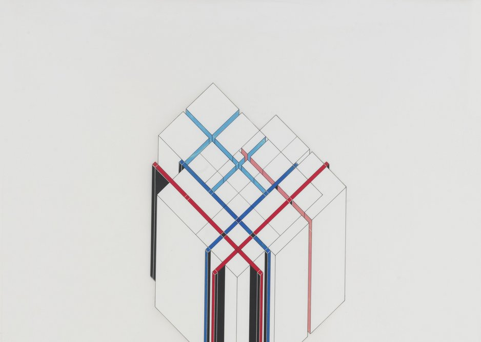 Peter Eisenman axonometric of House V1, drawn in collage.