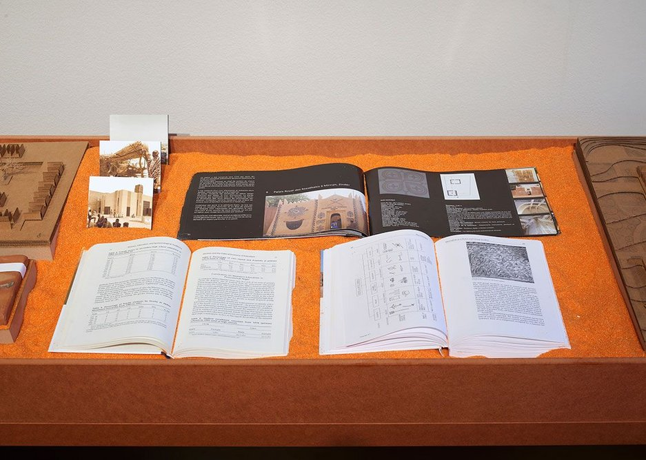 Drawings, models, photographs and materials from Atelier Masōmī in the display