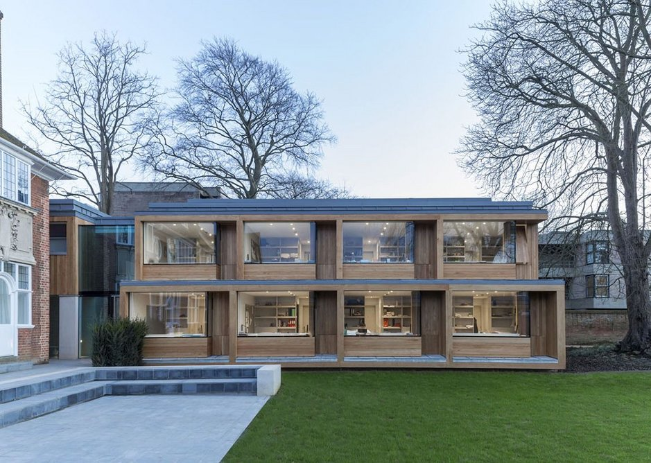 Education and public sector – St Clare's, Oxford by Hodder + Partners. New quad made of oak-veneered prefab units.