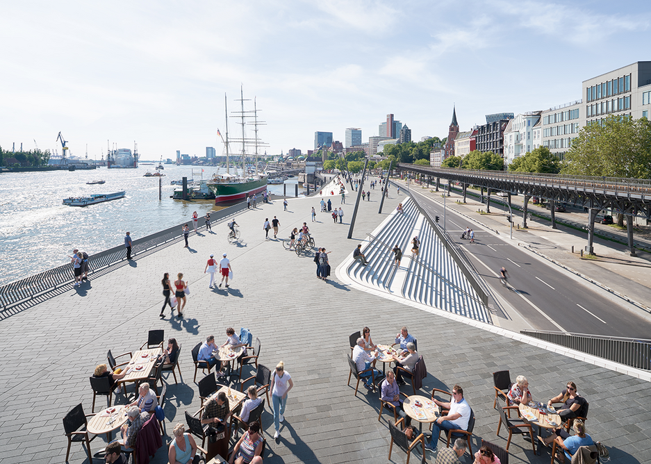 Niederhafen River Promenade in Hamburg designed by Zaha Hadid Architects. The landscaping provides public amenity in addition to its role mitigating flooding.