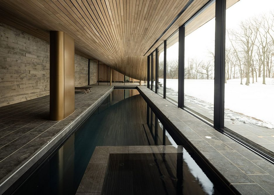 The building is all about the pool as a kind of second home in the garden. The ceiling drops down to accommodate an external stair over the roof.