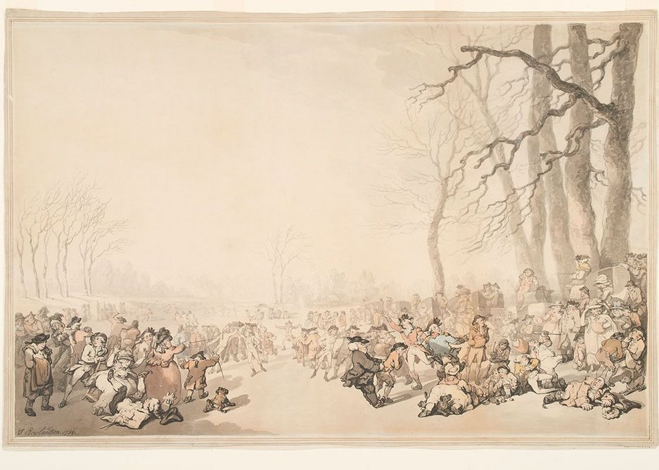 Skating on the Serpentine 1786 (c) Museum of London. The Serpentine was created by damming the Westbourne and linking together a number of natural ponds in Hyde Park.