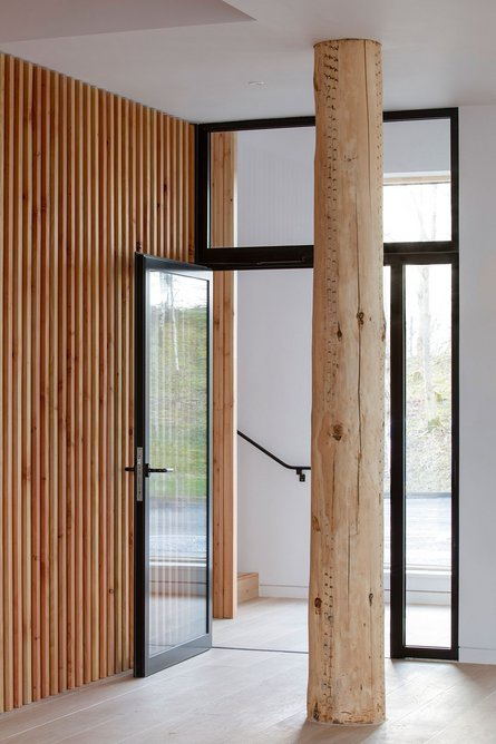 A stripped trunk feature column delineates the circulation to the upper floor.