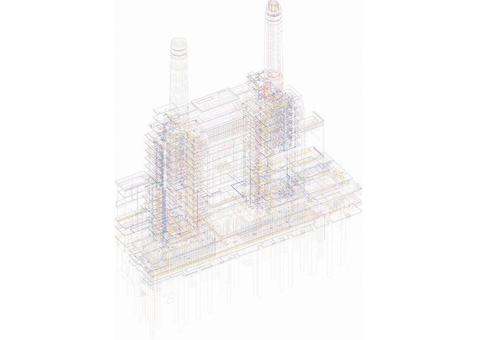 Battersea Power Station, Chris Wilkinson OBE RA at the Royal Academy Summer Show 2017. Digital print of BIM model, 180 × 150 cm. Courtesy of WilkinsonEyre.