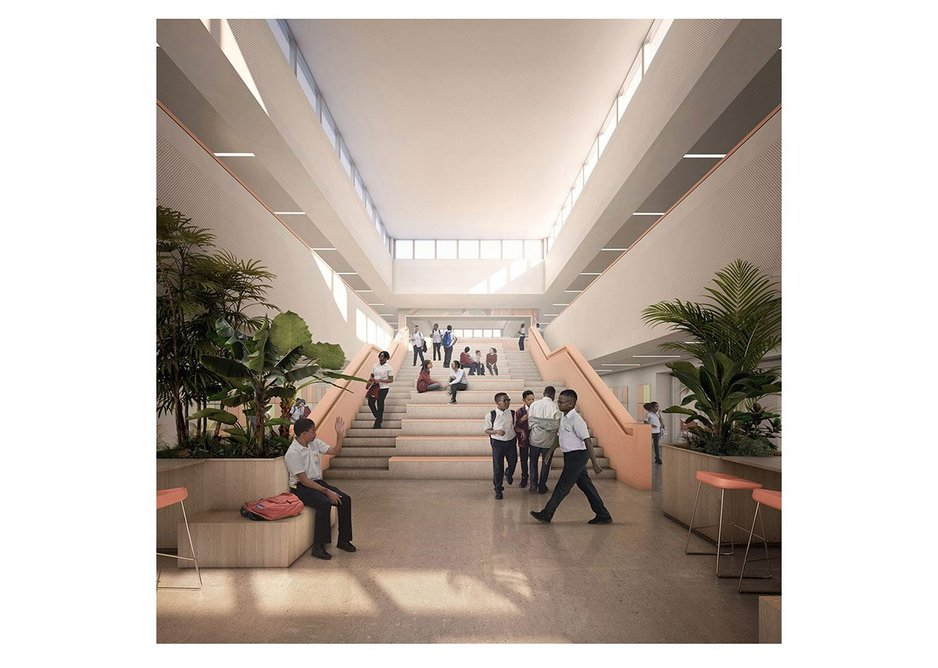 John Gray High School, Grand Cayman – Each learning wing each incorporates a collaboration breakout space and gathering stair and can adjust to different educational models.
