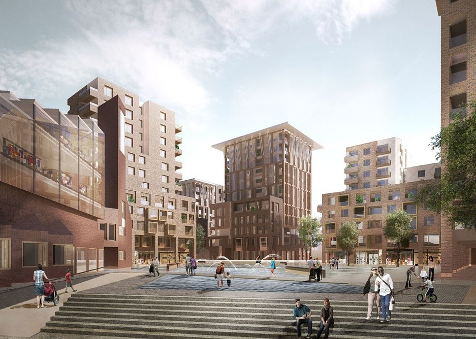 Visualisation of Lakeside Square, south Thamesmead.