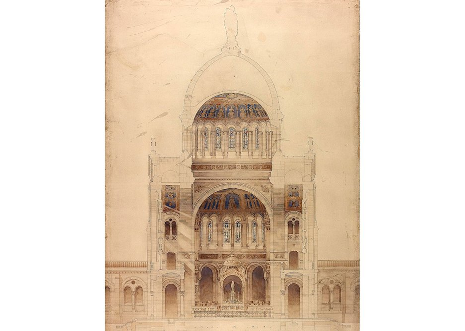 Diploma study: design for a pilgrimage chapel – cross section, 1895.