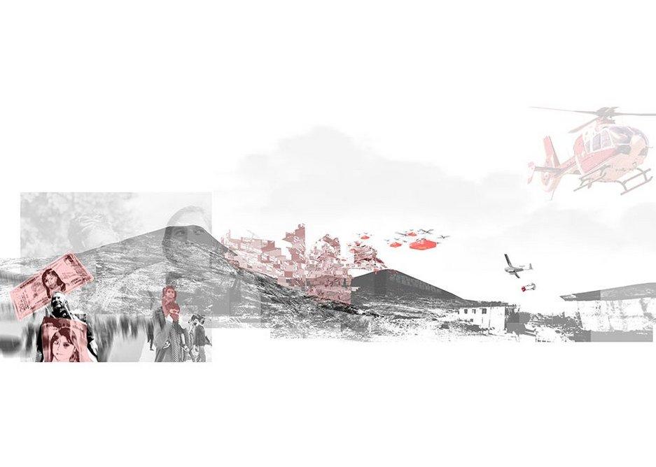 6.BeyondStudioBorders, Foro de Salud Urbana, Tijuana. An entry for SKYHIVE 2020 design competition, depicting an urban health Forum.