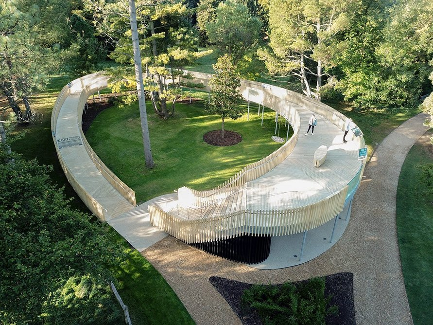The Rising Path, a viewing platform designed by Chadwick Dryer Clarke Studio at the Cambridge Botanical Gardens allows visitors to be closer to the surrounding trees canopy.