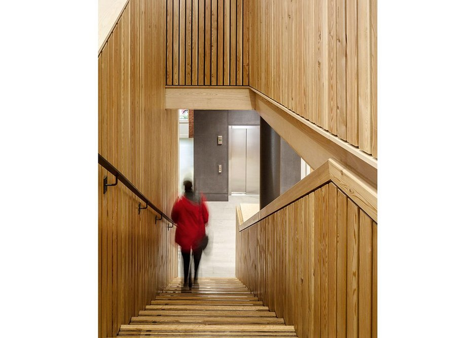 Details, such as the recessed timber handrail, have a warm tactility.