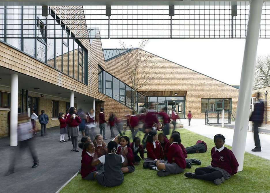Pegasus Academy by Hayhurst and Co is an example of the public architecture commissioned at Croydon Council while Finn was working there.