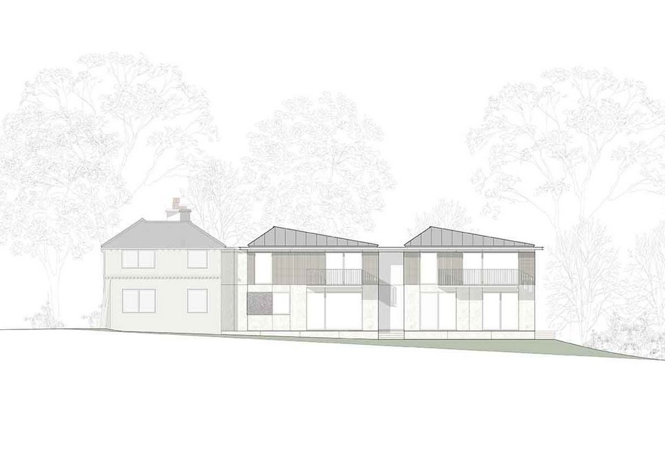 Rear elevation of Cherry Tree House, designed by Guttfield Architecture.