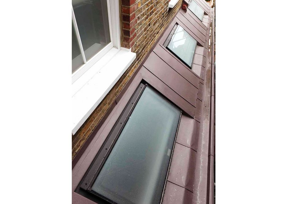 The clean lines and modern design of the Neo roof window are a perfect fit for the standing seam roof at the property in Fulham.