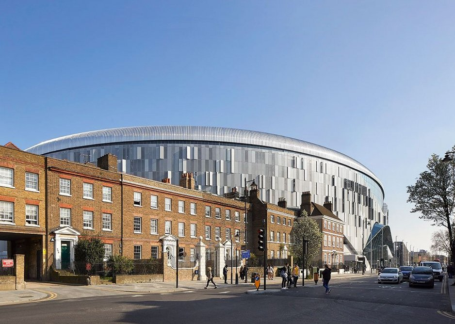 The new stadium has to squeeze its massive form behind some far smaller period neighbours.