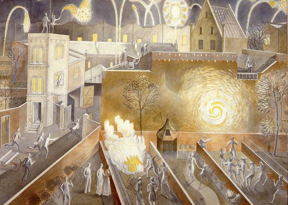 Ravilious portrays Firework Night as a Saturnalia.