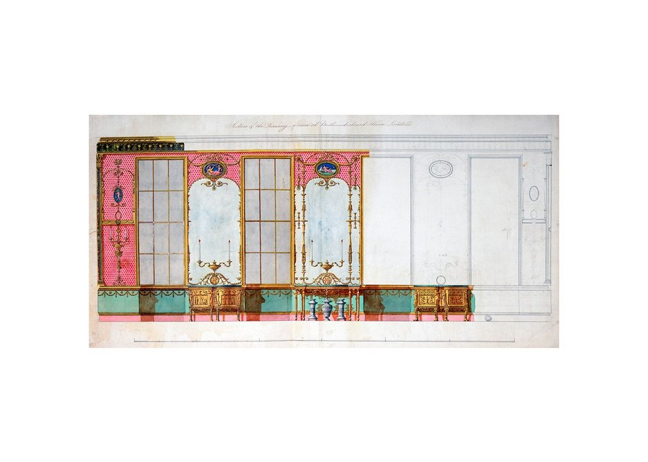 Design for the window wall of the glass drawing room at Northumberland House, Strand, c1770-73.