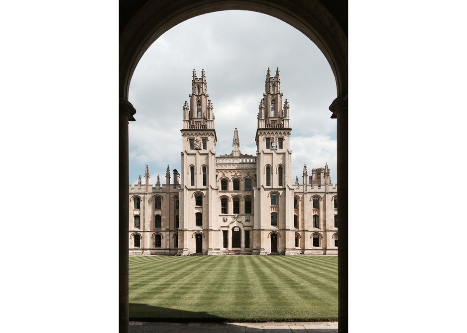 Hawksmoor's twin Gothic towers at All Souls College, Oxford.