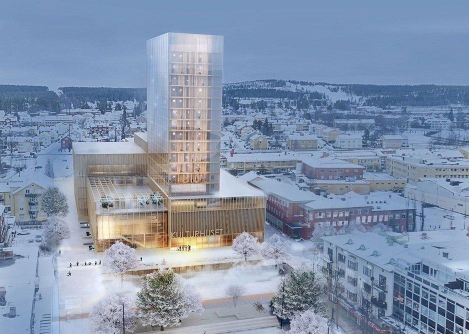 Kulturhus Skellefteå, a proposed 19-storey timber-framed building designed by White Arkitekter in Skellefteå, Sweden.