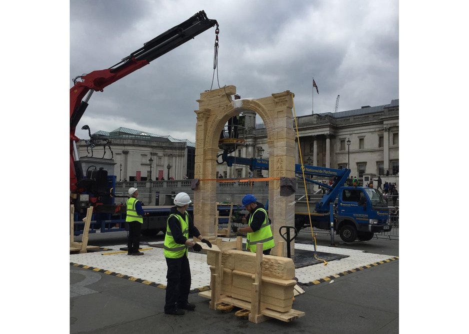 Construction in Trafalgar Square.