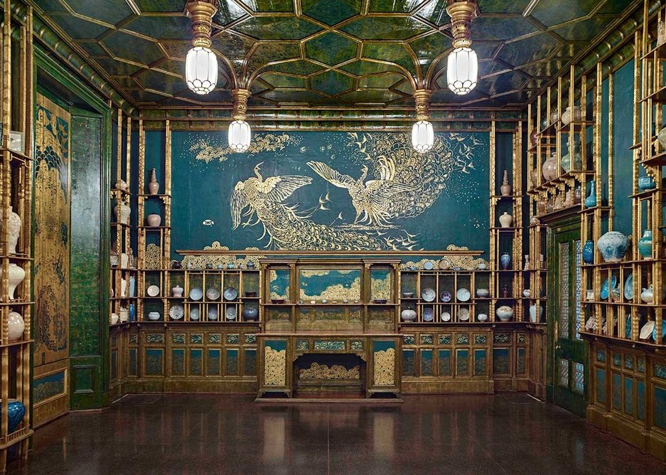 James Abbott McNeill Whistler's Peacock Room now at the Freer Gallery of Art, Smithsonian Institution, Washington, D.C. Gift of Charles Lang Freer. The room was the inspiration for Darren Waterston's Filthy Lucre, now at the Victoria and Albert Museum.