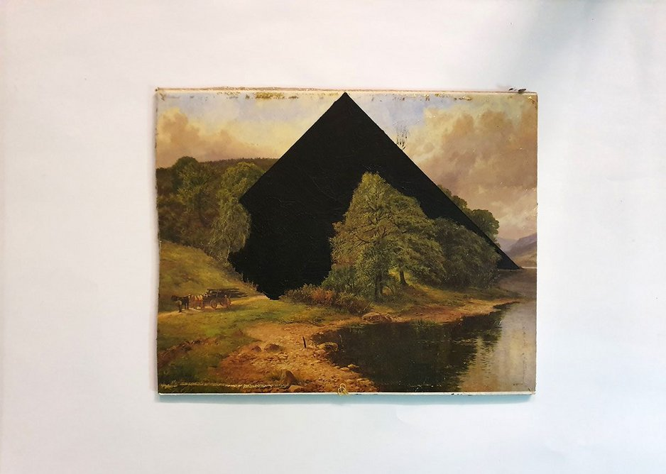 Blind Spot 2 – In this series, Sam Jacob adds geometric shapes to romantic landscape scenes.