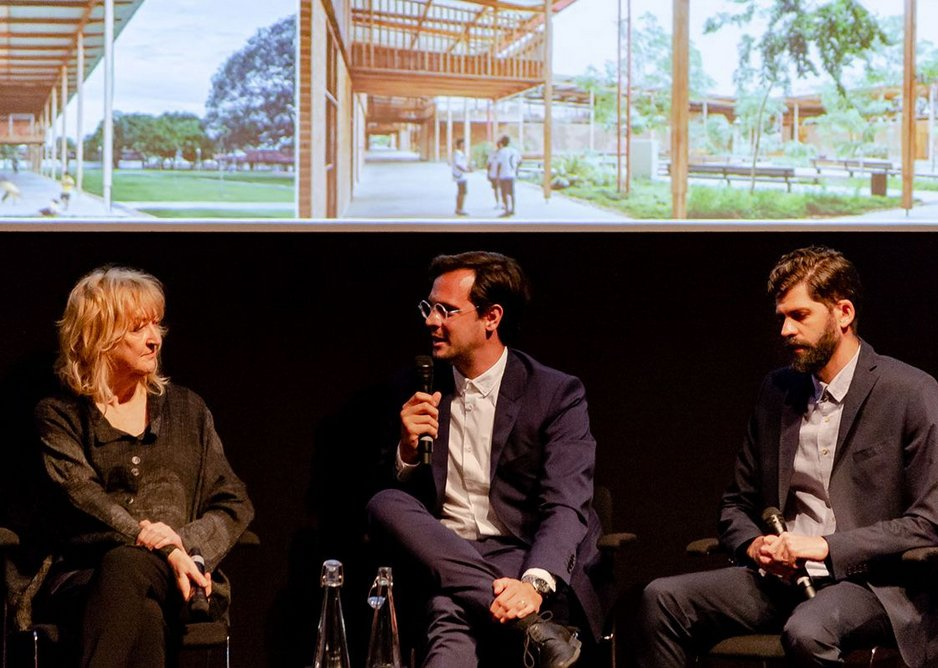 Yvonne Farrell of Grafton in conversation with Gustavo Utrabo and Pedro Duschenes of Aleph Zero, both winners of the RIBA International Prize.
