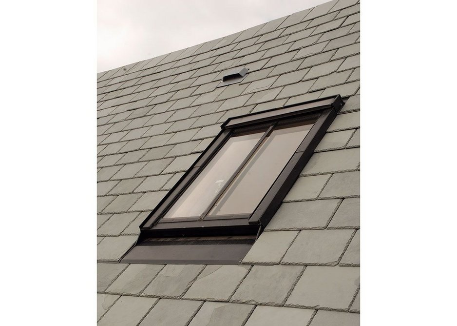 Fakro rooflights at a barn conversion in Bishop's Castle, Shrophsire: Black frames, flashings and mullions have the thermal efficiencies of their white PU-coated pine or PVC equivalents.