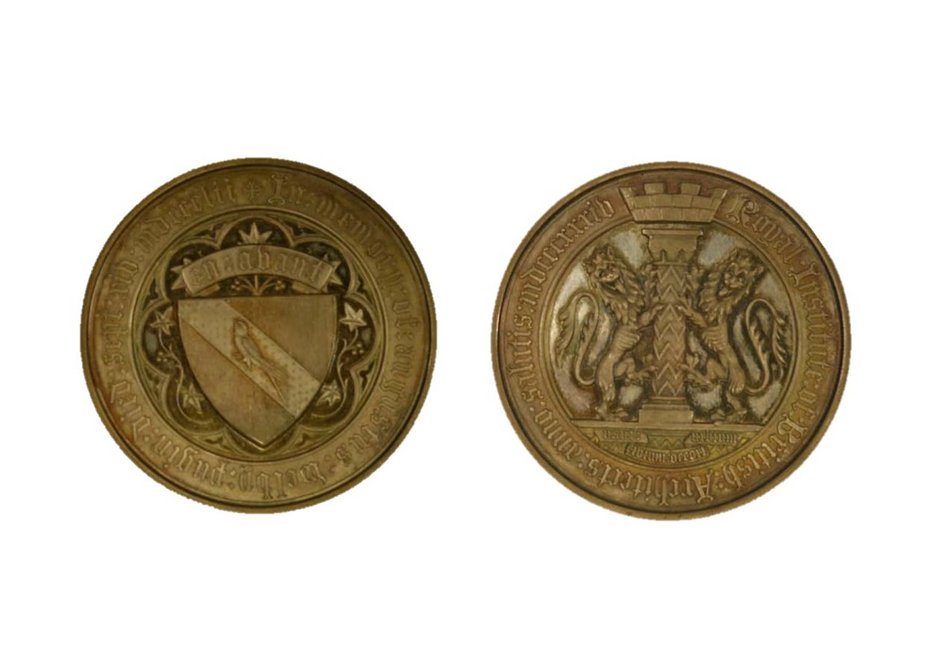 Pugin Studentship Medal. Designed by J T Foot, 1863. Awarded to J J Joass in 1893
