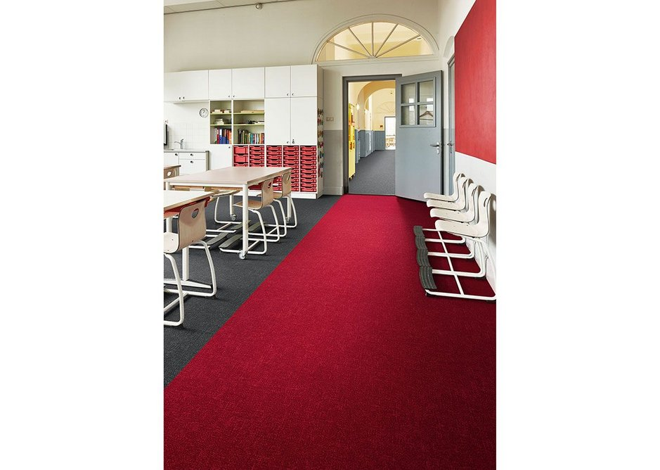 Flotex Colour Metro flocked flooring in Grey and Cherry.