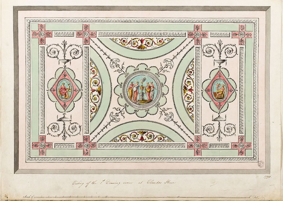 Finished drawing showing the ceiling of the first drawing room at Chandos House, Queen Anne Street, 1771.
