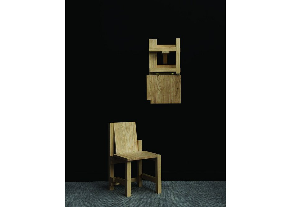 Folded chair, NMHK Co. Timber: American white ash / American black walnut.