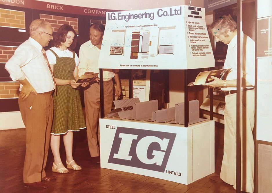 The then IG Engineering with its steel lintels at the Building Centre, Birmingham, 1974.