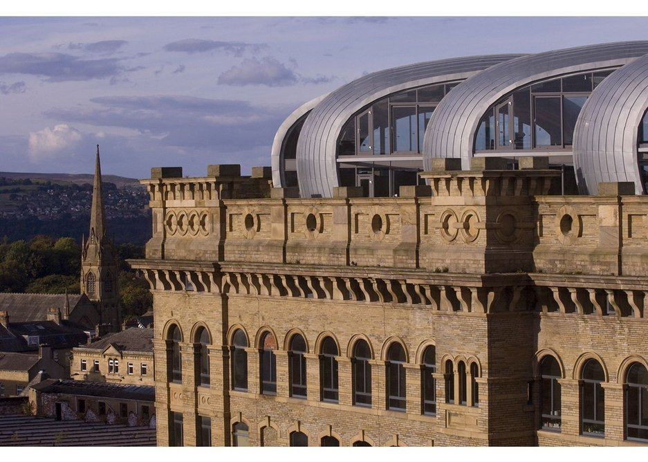 Lister Mills, Bradford by David Morley Architects and Price & Myers. The refurbishment of the building uses engineered timber for roof extension.