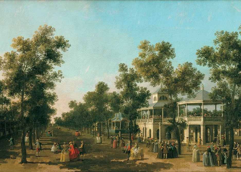 Canaletto draws on green leisure spaces of a newly confident nation, The Grand Walk Vauxhall Gardens.
