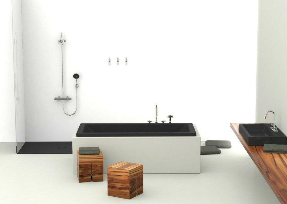 Kaldewei Lava Black Matt co-ordinates a Conoflat shower surface, Cono washbasin and Conoduo bath.