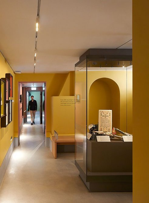 View through the new Home Galleries, created by Wright & Wright by enlarging the basement of the museum almshouses. Exhibition design is by ZMMA.