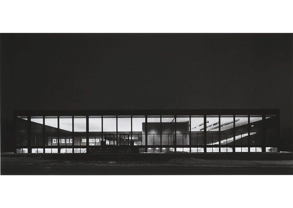 Exterior of Saidye Bronfman Centre at night, 1968, photographed by Richard Nickel. Architect: Phyllis Lambert.
