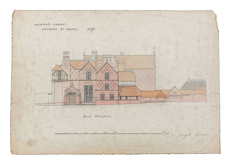 William Butterfield, east elevation of No 9 Heath's Court, Ottery St Mary, 1880–83.