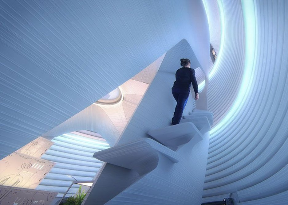 The zone between the two shells functions as a light well and a space for stairs to gentle spiral from level to level.