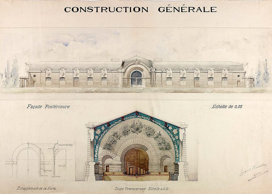 Design for a Military Riding School (Ferme des Ecuries) – rear elevation and cross-section, 1891.