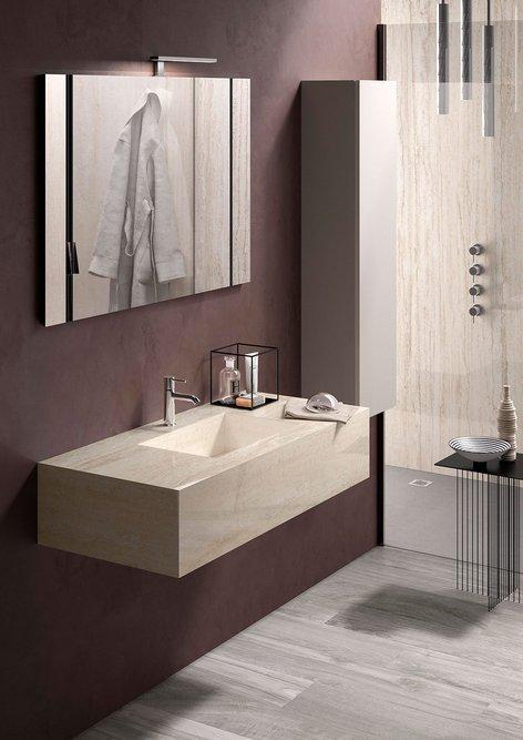 Wall-hung RAK-Precious Travertino Ivory washbasin: Porcelain tile integrated solutions.