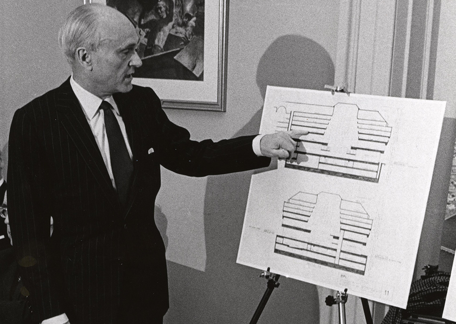 Architect Philip Johnson at approval of design of proposed addition to Central Library building. Credit CC BY 2.0,  City of Boston Archives from West Roxbury, United States .