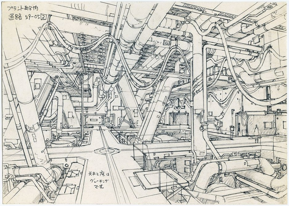 Concept Design for Ghost in the Shell 2 - Innocence by Takashi Watabe.