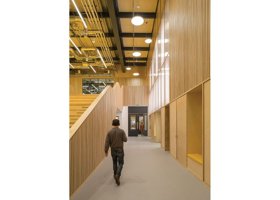 A 'runway' thoroughfare leads past the auditorium towards the robotics, testing and fabrication spaces.