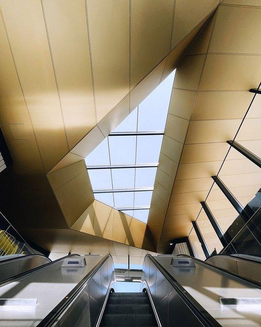 Inside Battersea Power Station Tube station, designed by Grimshaw.