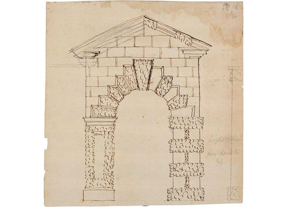 John Freeman, design for an archway, Fawley Court, 1735.