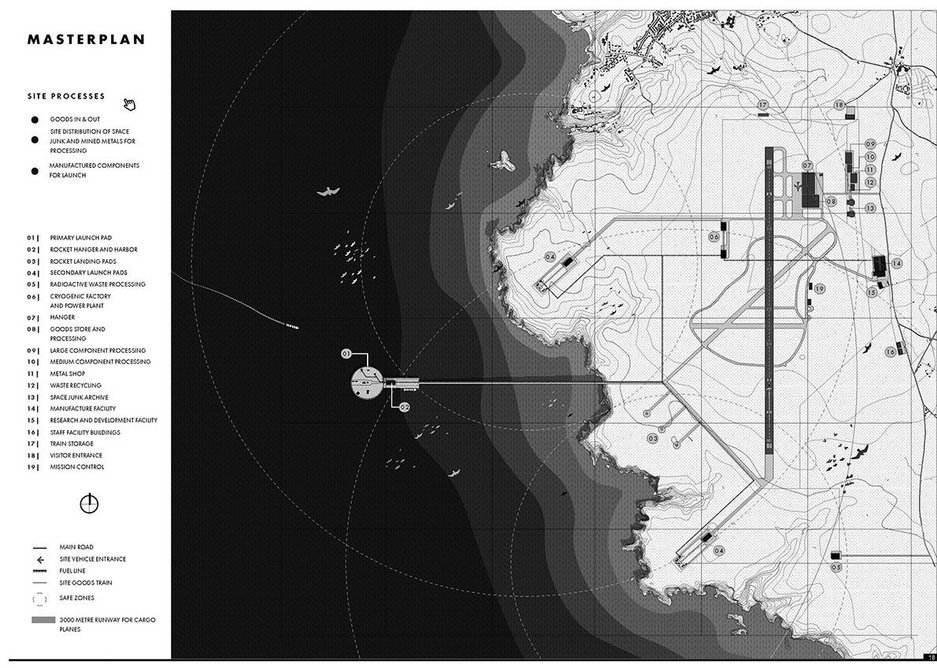 Peter Bell's Lizard Spaceport arose from the data gathering and mapping of the Infrastructure Design Studio atelier's studies in Cornwall. Masterplan.