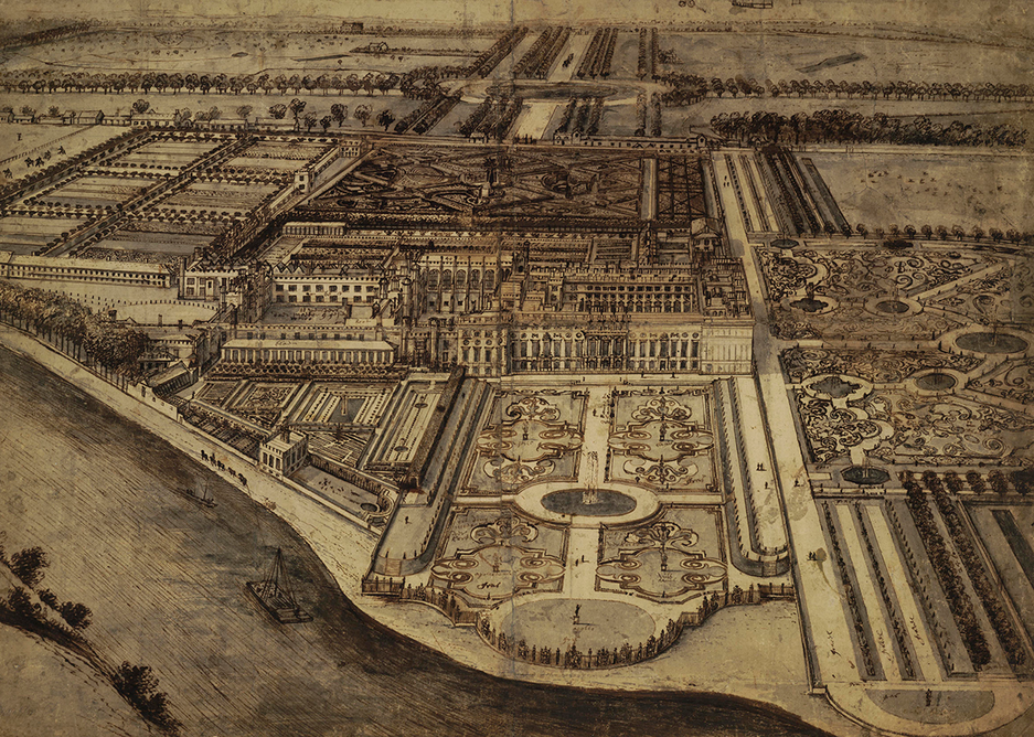 Bird's Eye view of Hampton Court from the South by Leonard Knyff, c1701.