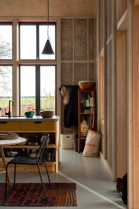 At Flat House by Practice Architecture hemp grown on site is used in timber cassettes – the main wall construction.